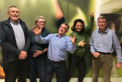 Herman Beekhuis, Pam van 't Hof, Otto van Harmelen, Marije Alma en Paul Wiegerinck