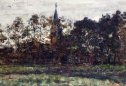 Jan Adam Zandleven, <br />Dorpsgezicht met kerk tussen bomen, 1907