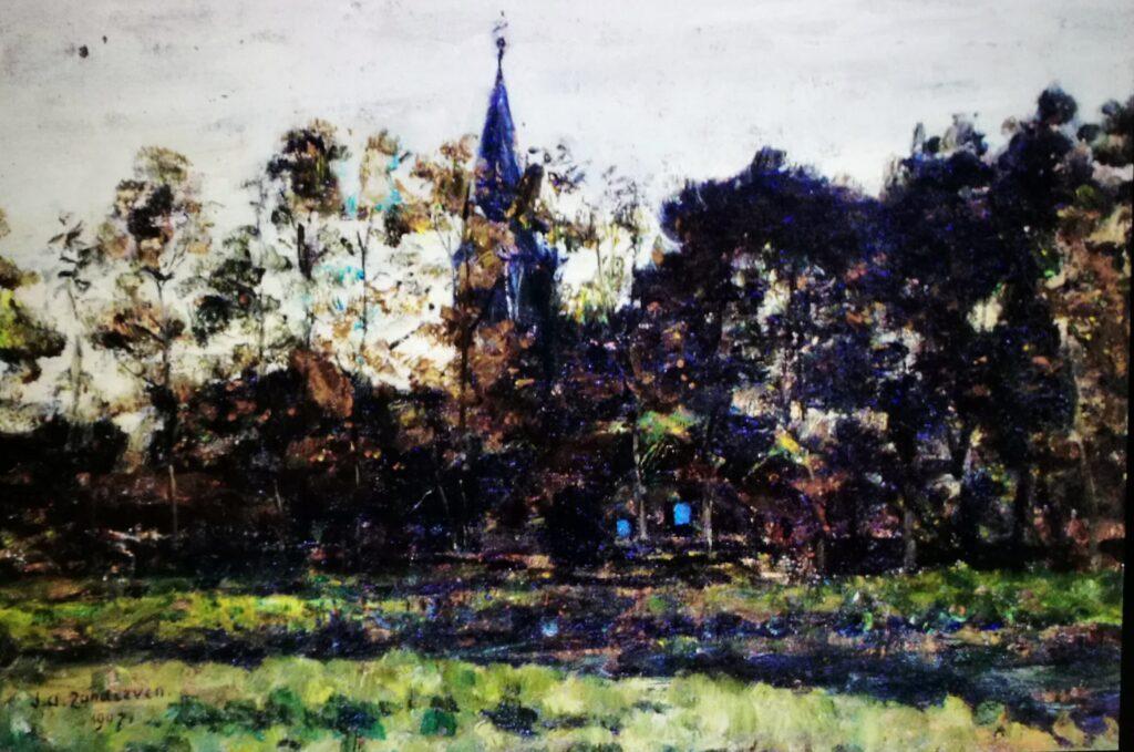 Jan Adam Zandleven, Gorssel. 'Dorpsgezicht met kerk  tussen bomen', 1907. (Bron: Jan Adam Zandleven-museum)