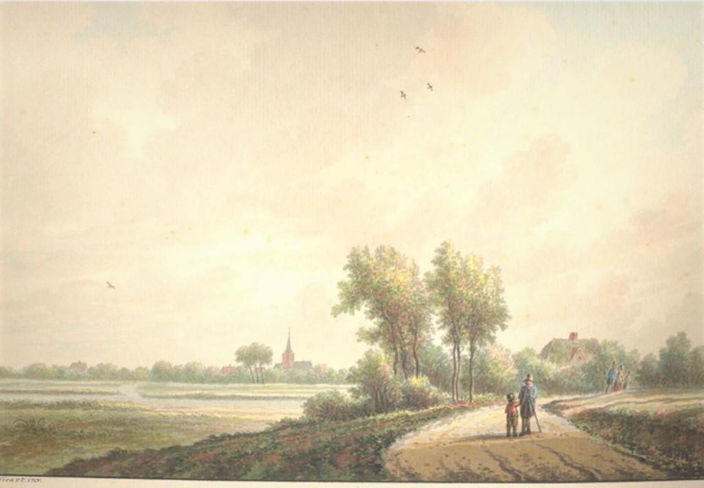 Nicolaas Wicart, 'Landschap met gezicht op Gorssel',  ca. 1768 - 1815. (Privé collectie; bron: RKDNederlands Instituut voor Kunstgeschiedenis)